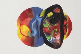 LangdonArt LuneJaune peinture acrylique sur papier vue B sur 4 vues, par Artiste peintre LangdonArt