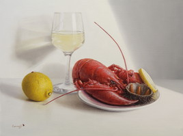 Dégustation d'oursin et vin blanc (27cm x 35cm) 5F