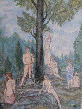 Hercule au jardin des Hespérides (d'aprés G. MOREAU)