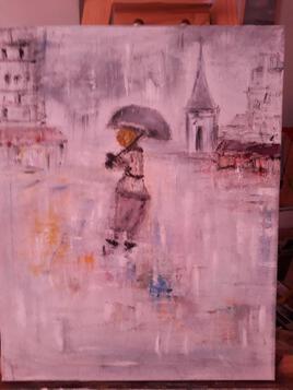 Village sous la pluie