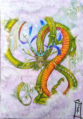 Dragon dans les bambous