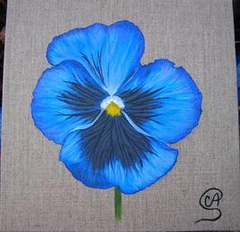 Peinture acrylique fleur - Pensée