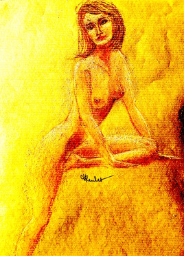 Femme nue debout Coralie / Drawing : a standing naked woman Coralie