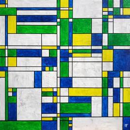 Abstrait jaune, vert et bleu
