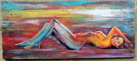 """""""juste avant d'être une sirêne""""  peinture sur bois de palette  110 X 60  JfG"""