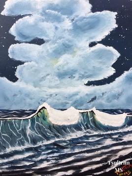 Mer à la nuit tombée