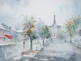 place du village de Mayet sous la pluie