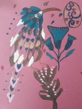 Oiseau égyptien et oeuf magique Et fleurs de lotus