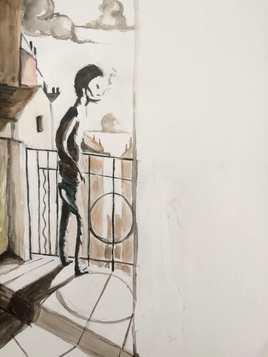 Au balcon.