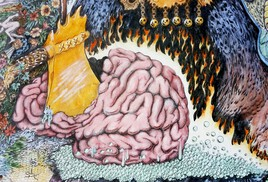 Cerveau de Jupiter fendu par la hache de Vulcain pour faire naître Minerve.