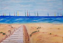 Planches à voiles à l'horizon