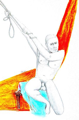 Homme tirant sur une corde Patrick/ Drawing A man pulling down on a rope