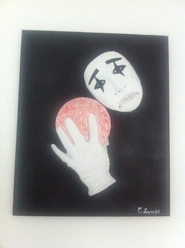 Peinture clown triste