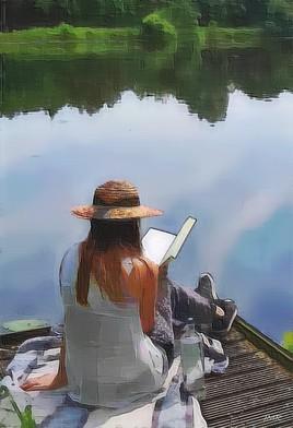 La lecture au bord de l'eau.