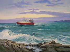 Chalutier en bord de mer.