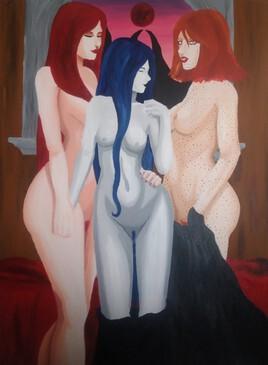 Nyx, Hécate et Perséphone nues