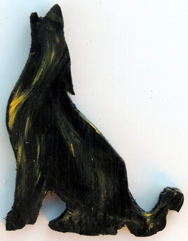 loup hurlant jaune noir bois découpé peint petit format