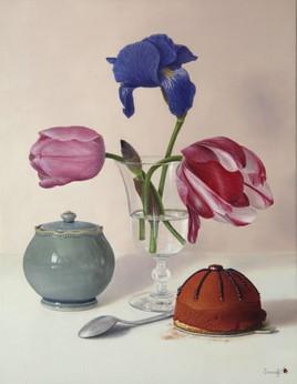 """Peinture Peinture à l'huile """"Petit bouquet de fleurs et gâteau """" (27cm x 22cm) 3F"""