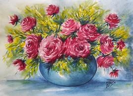Aquarelle bouquet Roses et mimosas..