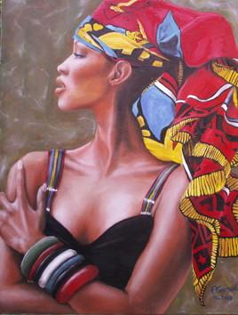 Noire au foulard