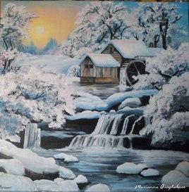 moulin à eau sous la neige