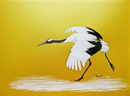 La grue du Japon (Grus japonensis) série or / Painting A red-crowned crane landing -gold paper