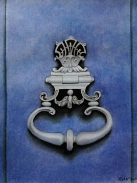- Heurtoir porte bleue - (aquarelle)