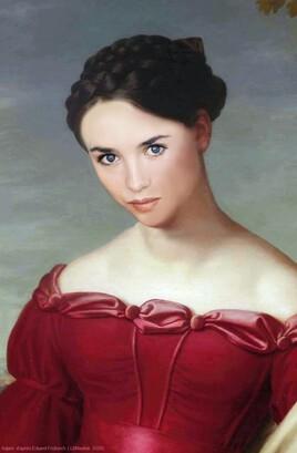 """""""la femme en rouge d'Eduard Friedrich revisitée par Adjani , de plus près :)"""
