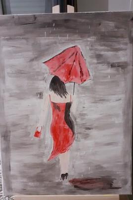 Marie sous la pluie