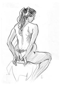 nu femme tatouée de dos