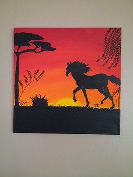 cheval au Soleil couchant