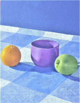 "NATURE MORTE ""POMME ET ORANGE"""