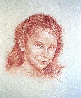 Stéphanie, portrait à la sanguine sur papier Canson gris