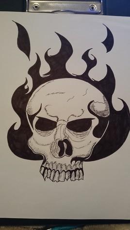 crâne en flamme