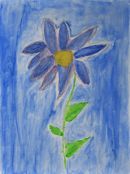 Peinture Fleur bleue