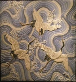 Garzas sobre el mar. med: 94x101x3 cm.