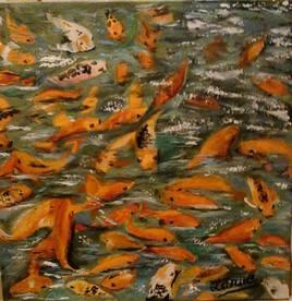 Le bassin aux poissons rouges 40 cm x 40 cm PEINTURE
