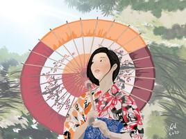 Kimono sous le soleil