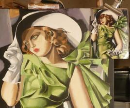 copie la jeune fille en vert de Tamara de Lempicka