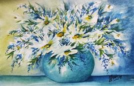 Aquarelle fleurs au vase bleu