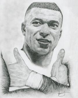 Dessin de portrait de Kylian MBappé, par PORTRAIT éMOI