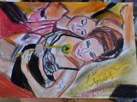Pastel sec deux femme coucher