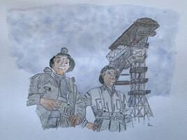 Des mineurs devant le chevalement du puits 5 Merlebach (Vouters 1).jpg