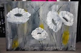 Tableau abstrait de fleurs.