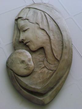 vIERGE A L ENFANT (applique ovale)