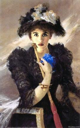 Adjani revisite la  signora con ombrellino de Matteo Vittorio Corcos..