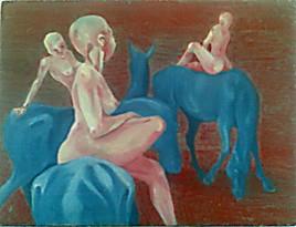 nues sur chevaux bleus