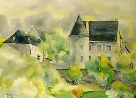 portrait peinture de votre maison ou village  aquarellet et