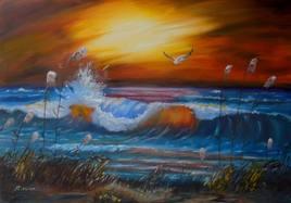 vagues tempête coucher de soleil plage