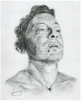 Dessin de portrait de Serge Gainsbourg / Gainsbarre, par PORTRAIT éMOI